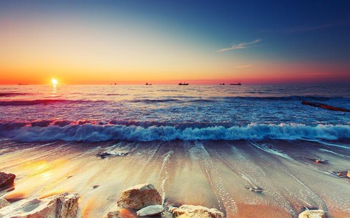 Scarica sfondi mare 4k tramonto onde spiaggia per