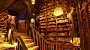 staircase library background 1080p