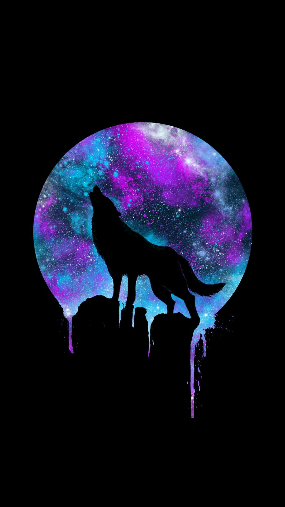 Wolf Howling At The Moon Galaxy Wallpapers For Tech