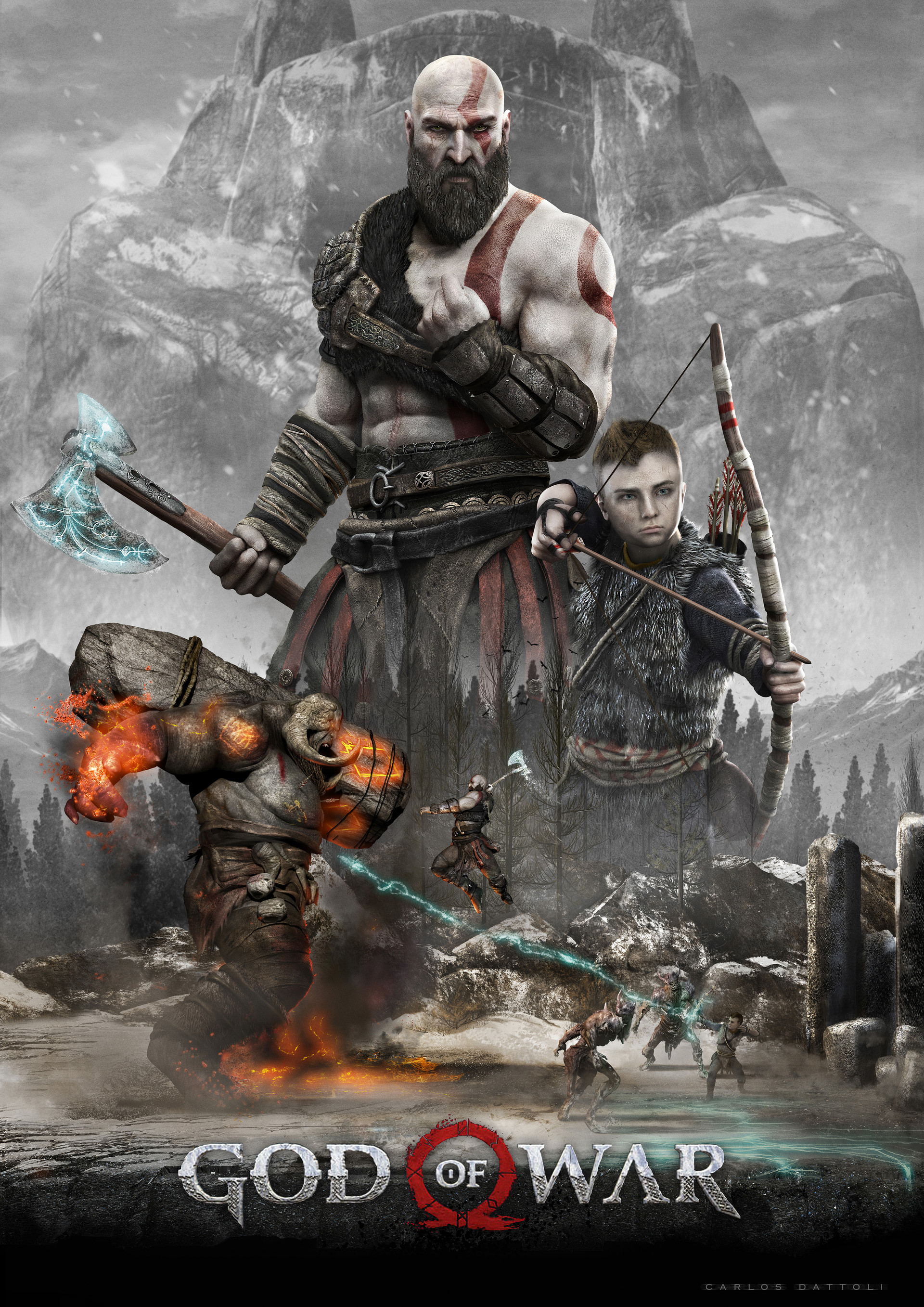 God Of War 4 Poster Wallpaper Kratos In Combat Wallpapers For Tech