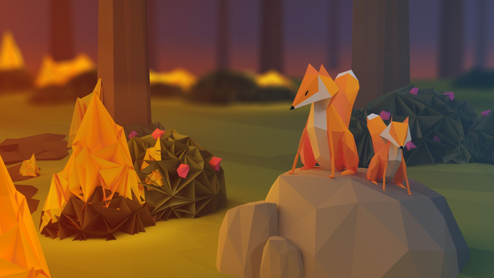 Carrier Girl Wallpaper Wallpaper Fox Low Poly 3d Forest Abstract 15651