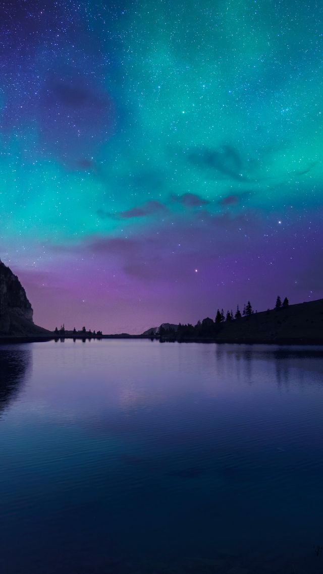 wallpaper lake aurora 4k