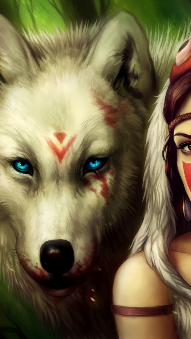 Black And White Girl Wallpaper Drawing Wallpaper Miyazaki Mononoke Hime Wolf Blue Eyes Blood