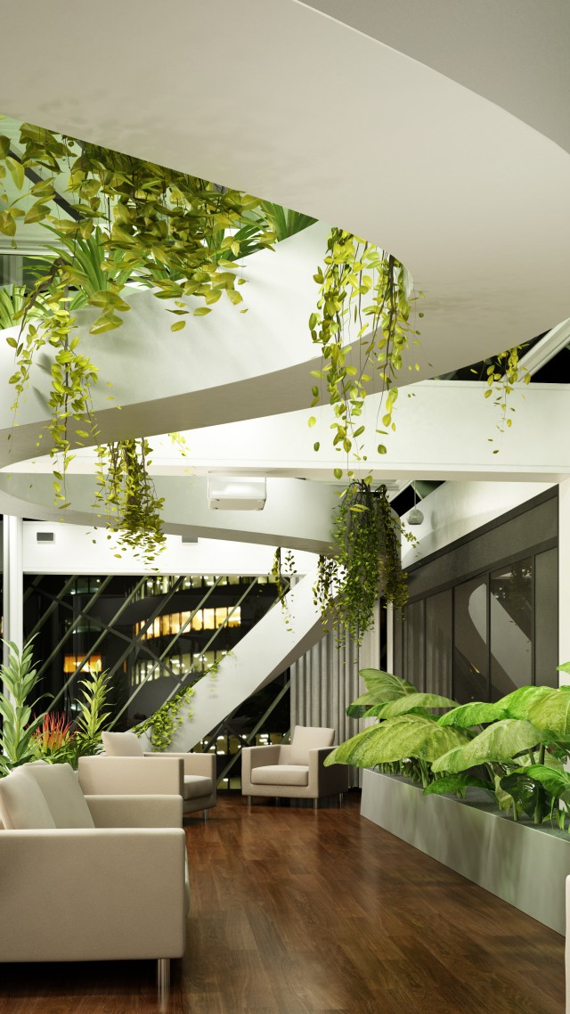 Wallpaper Living room design hightech modern plants