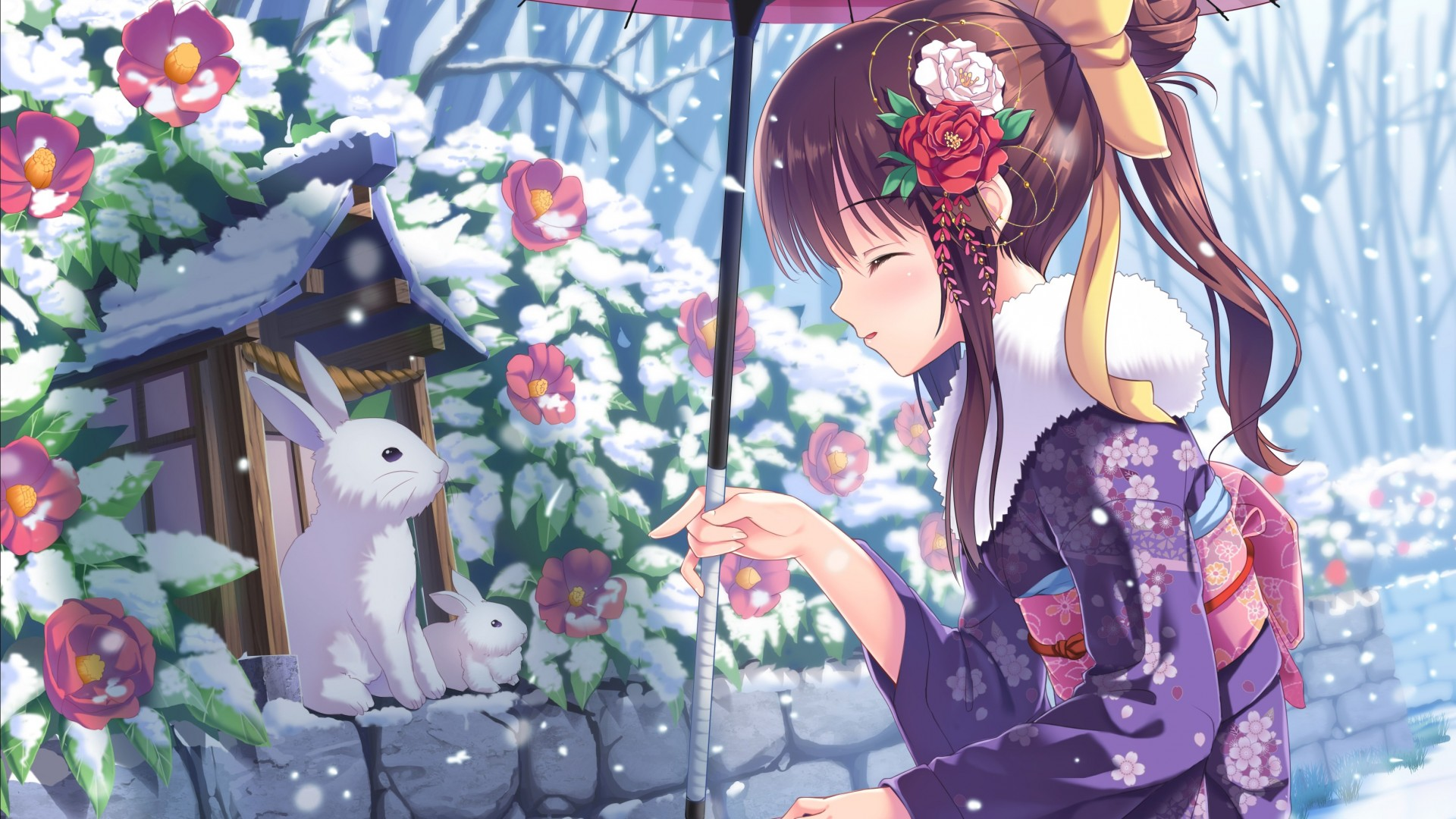 A collection of the top 35 pastel aesthetic anime wallpapers and backgrounds. Wallpaper anime, girl, beauty, winter, rabbits, snow, 4k