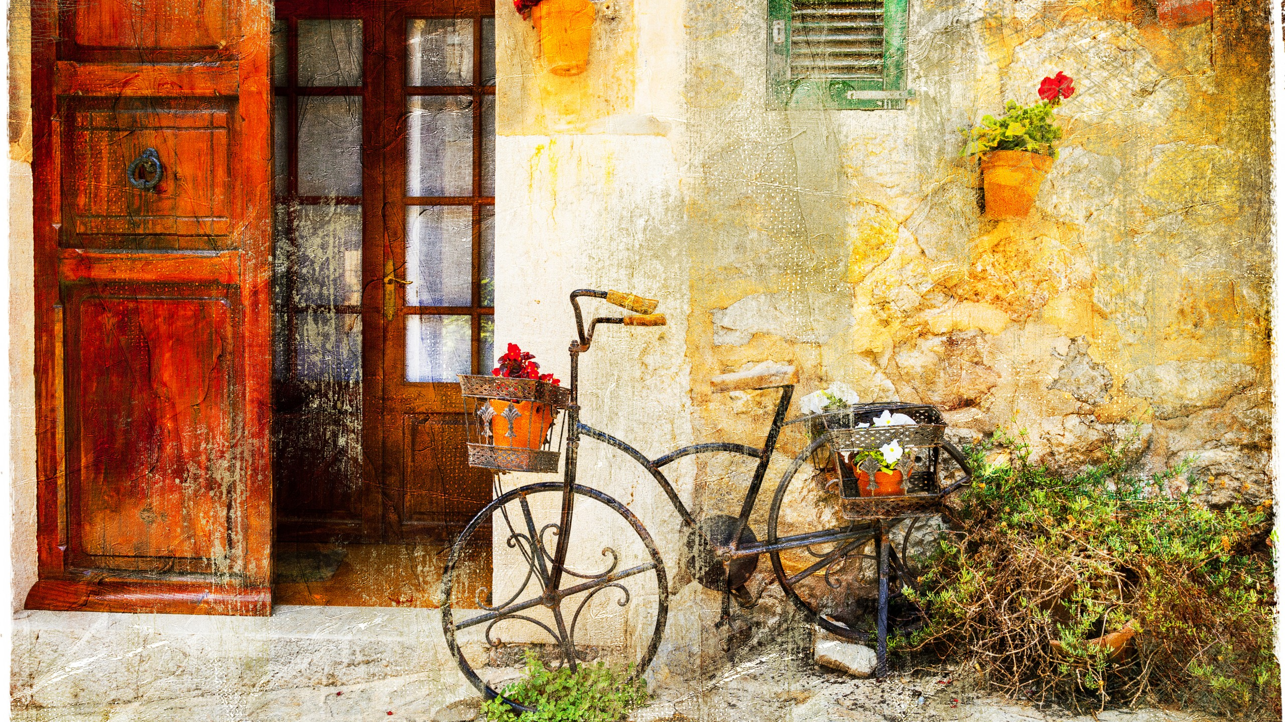 Fall Abstract Wallpaper Wallpaper Bicycle Vintage Old House 8k Art 18730