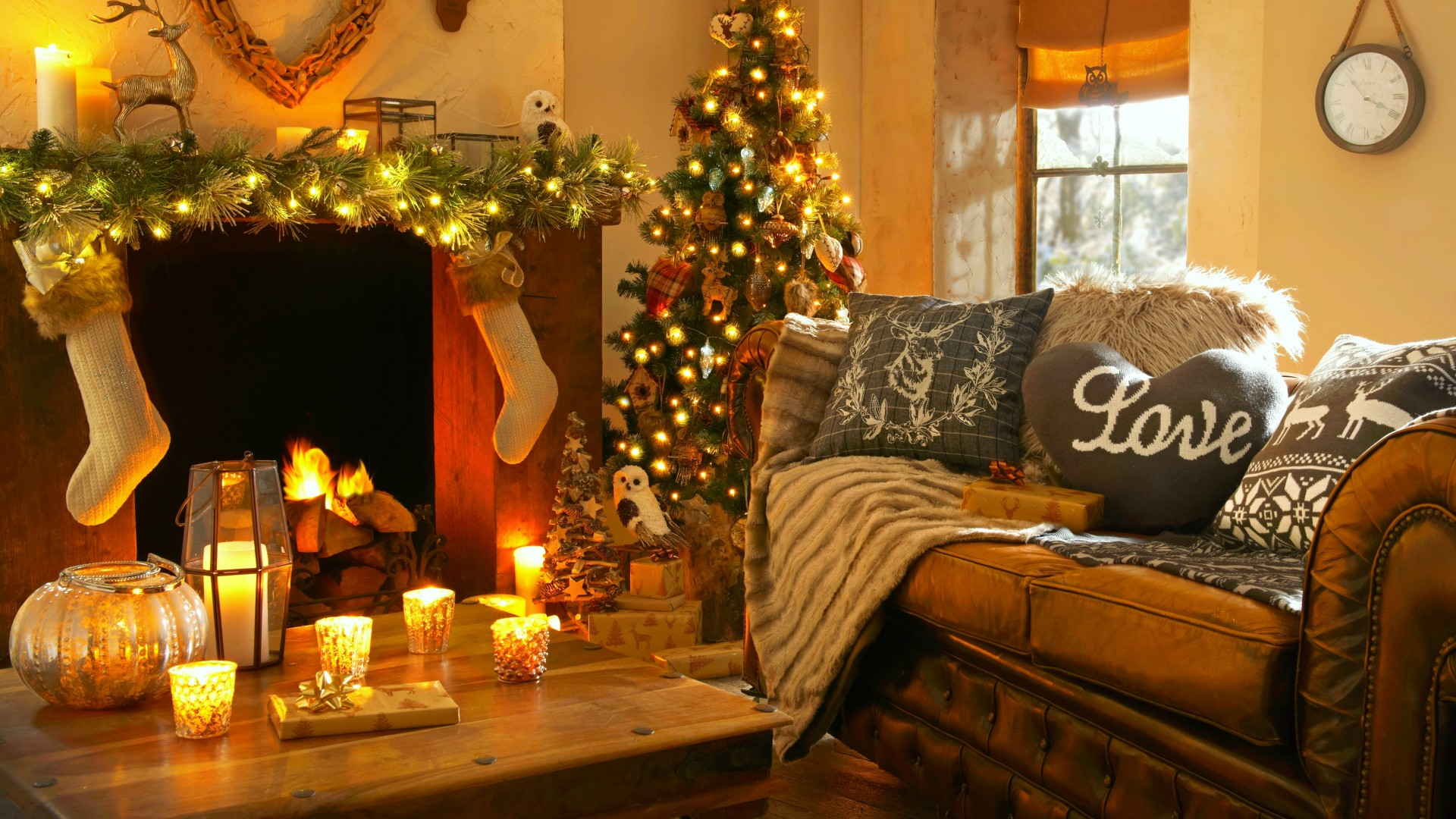 Free Animated Fireplace Wallpaper Wallpaper Christmas New Year Home Light Fire Candles