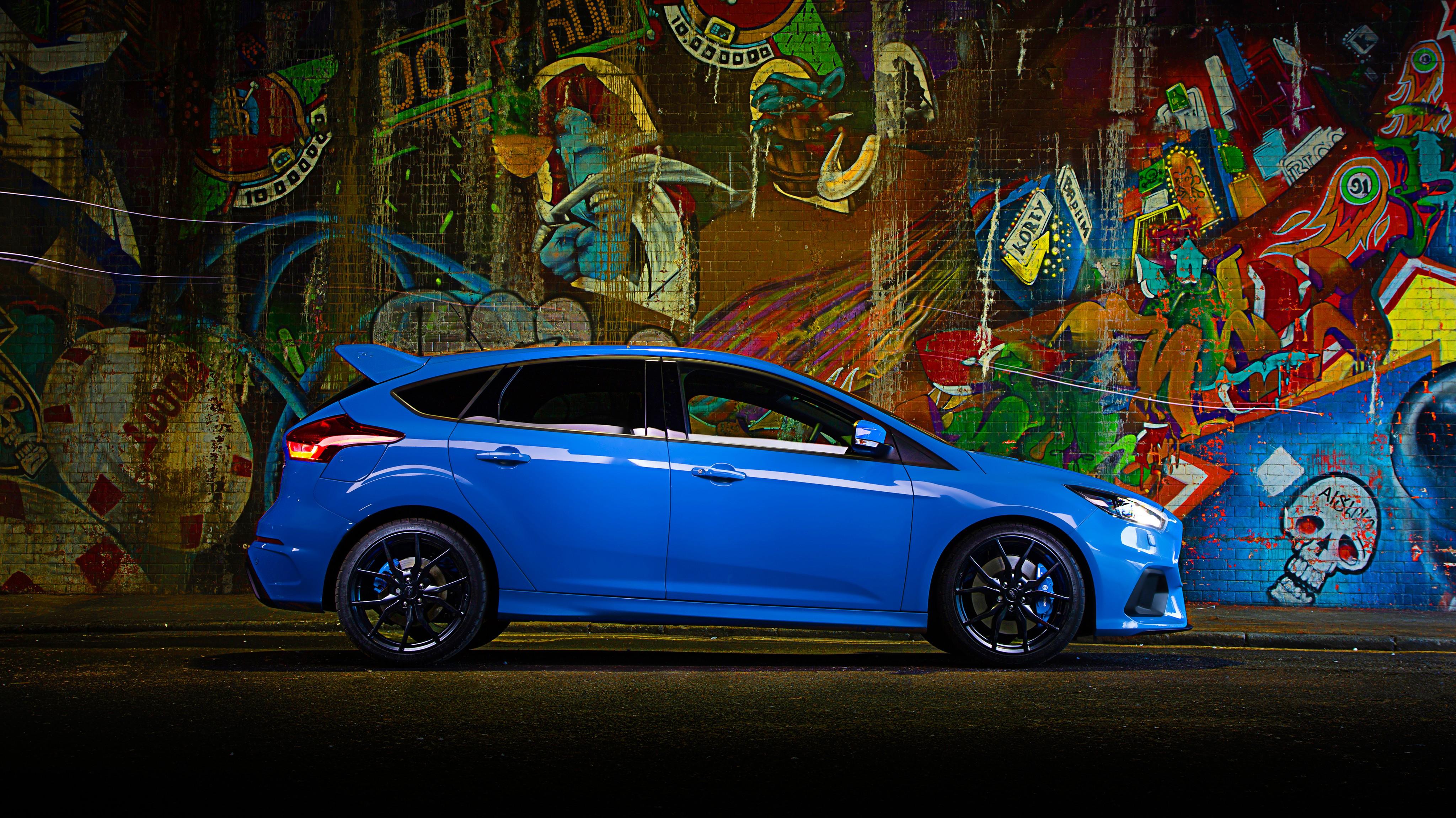 High Performance Car Pc Desktop Wallpaper Wallpaper Ford Focus Rs Hatchback Blue Cars Amp Bikes 10417