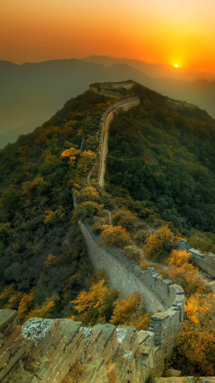Iphone X Stock Wallpaper 4k Download Wallpaper Great Wall Of China Travel Tourism Sunset