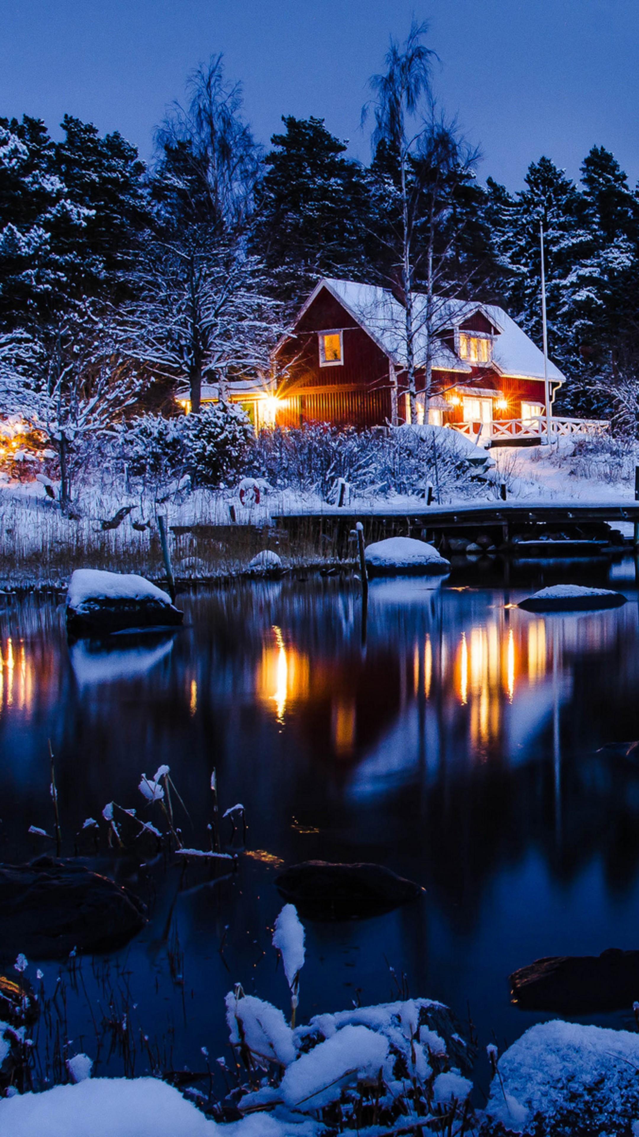 Christmas Snow Wallpaper Hd Wallpaper House Lake Trees Winter 5k Nature 17375