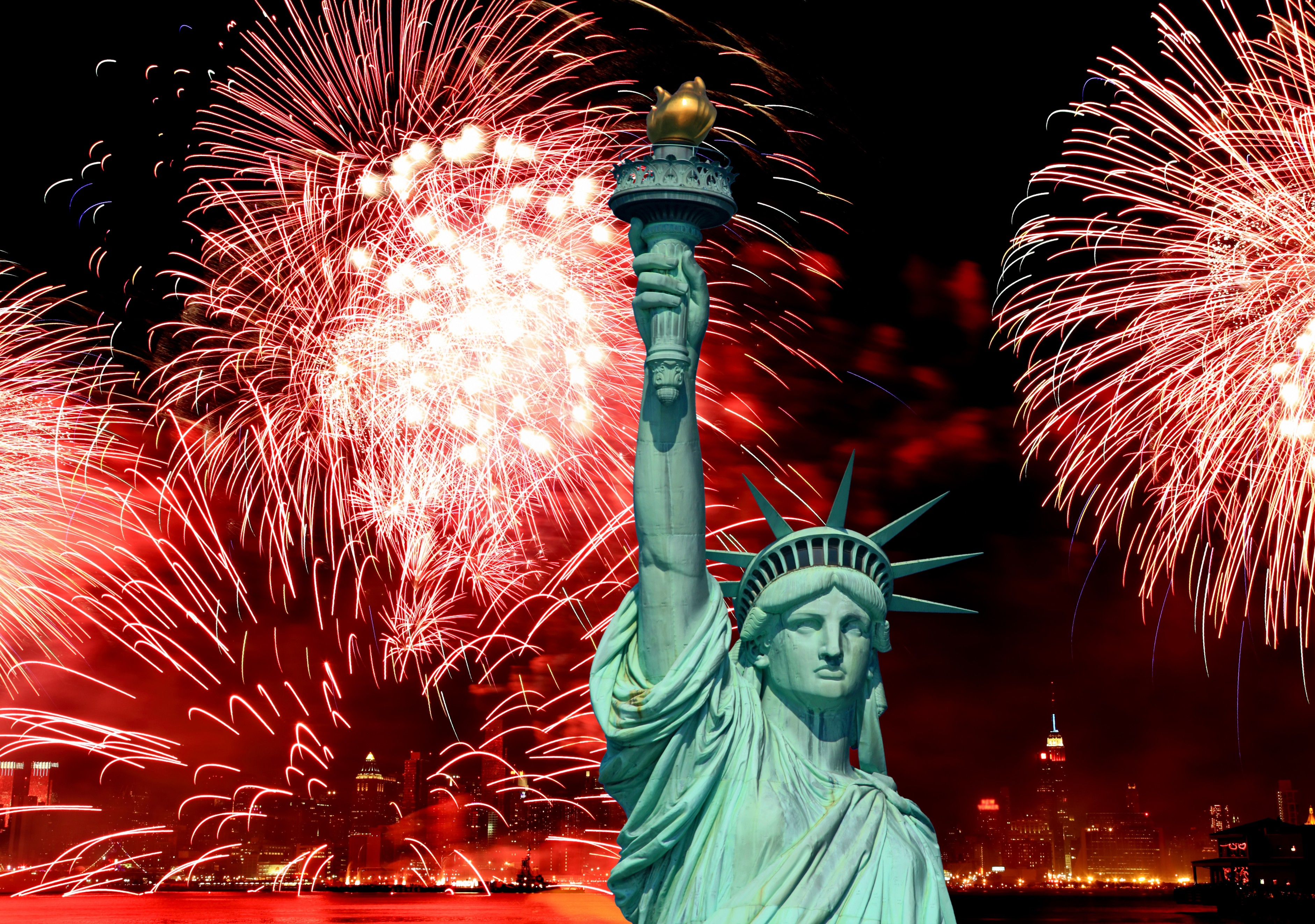 Wallpaper Independence Day USA NY Statue Of Liberty