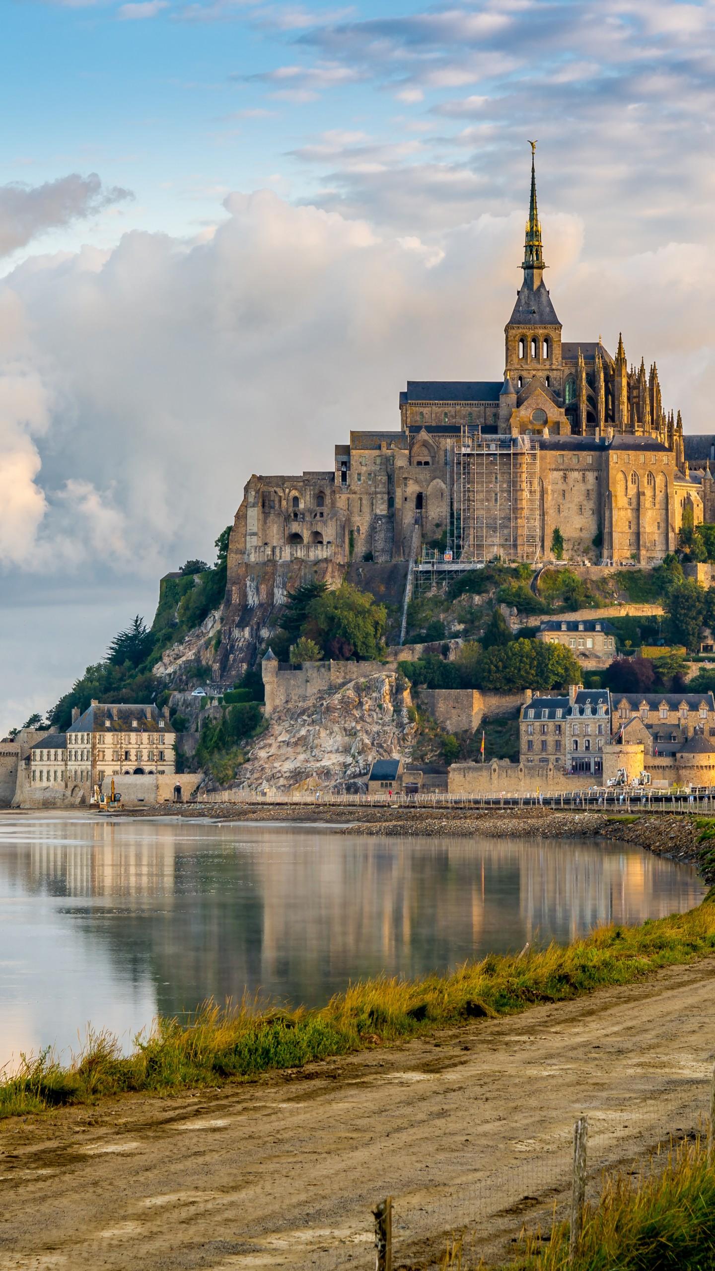 Wallpaper Hd Clouds Wallpaper Mont Saint Michel France Town Castle Tourism