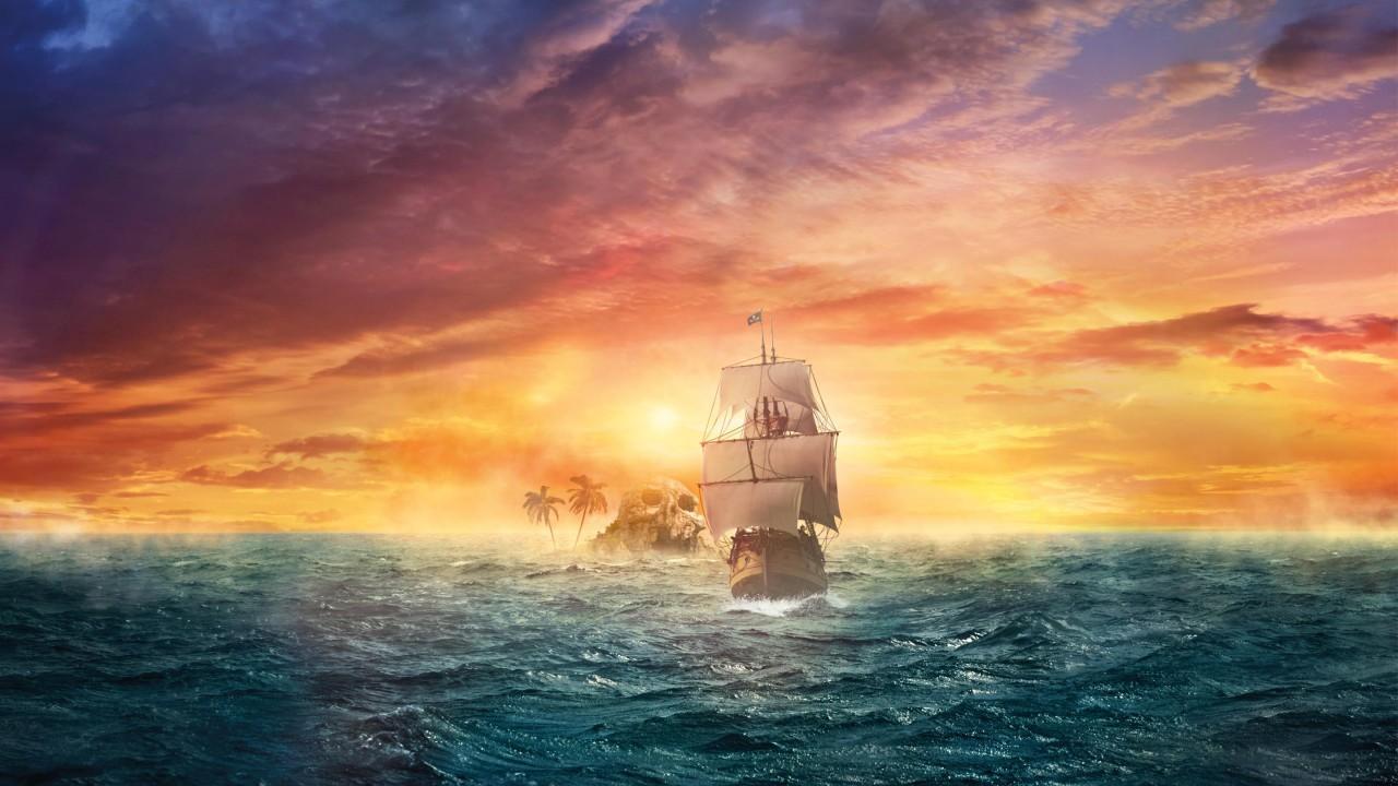 Blonde Girl Photo Wallpaper 2560x1440 Wallpaper Pirate Ship Sea Ocean Sunset Skull Land