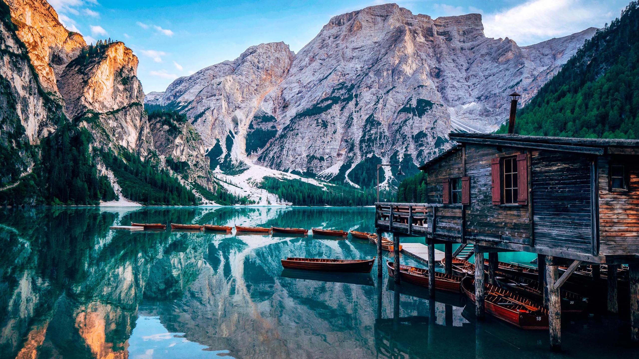 Falling Water Wallpaper Free Download Wallpaper Pragser Wildsee Lake Italy Europe 4k Travel
