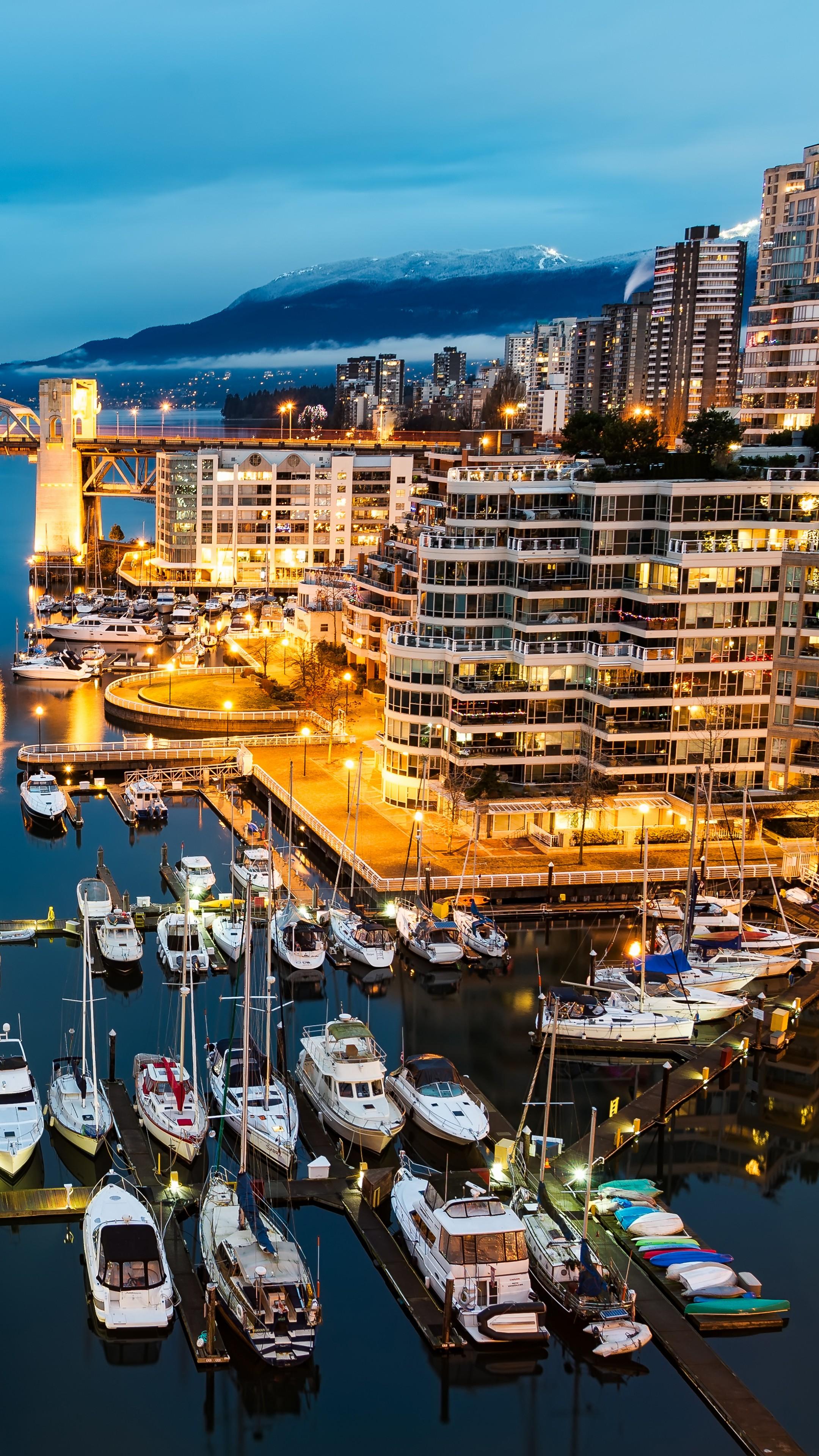 Wallpaper Vancouver Granville Island Canada night Morning lights boats blue water sea