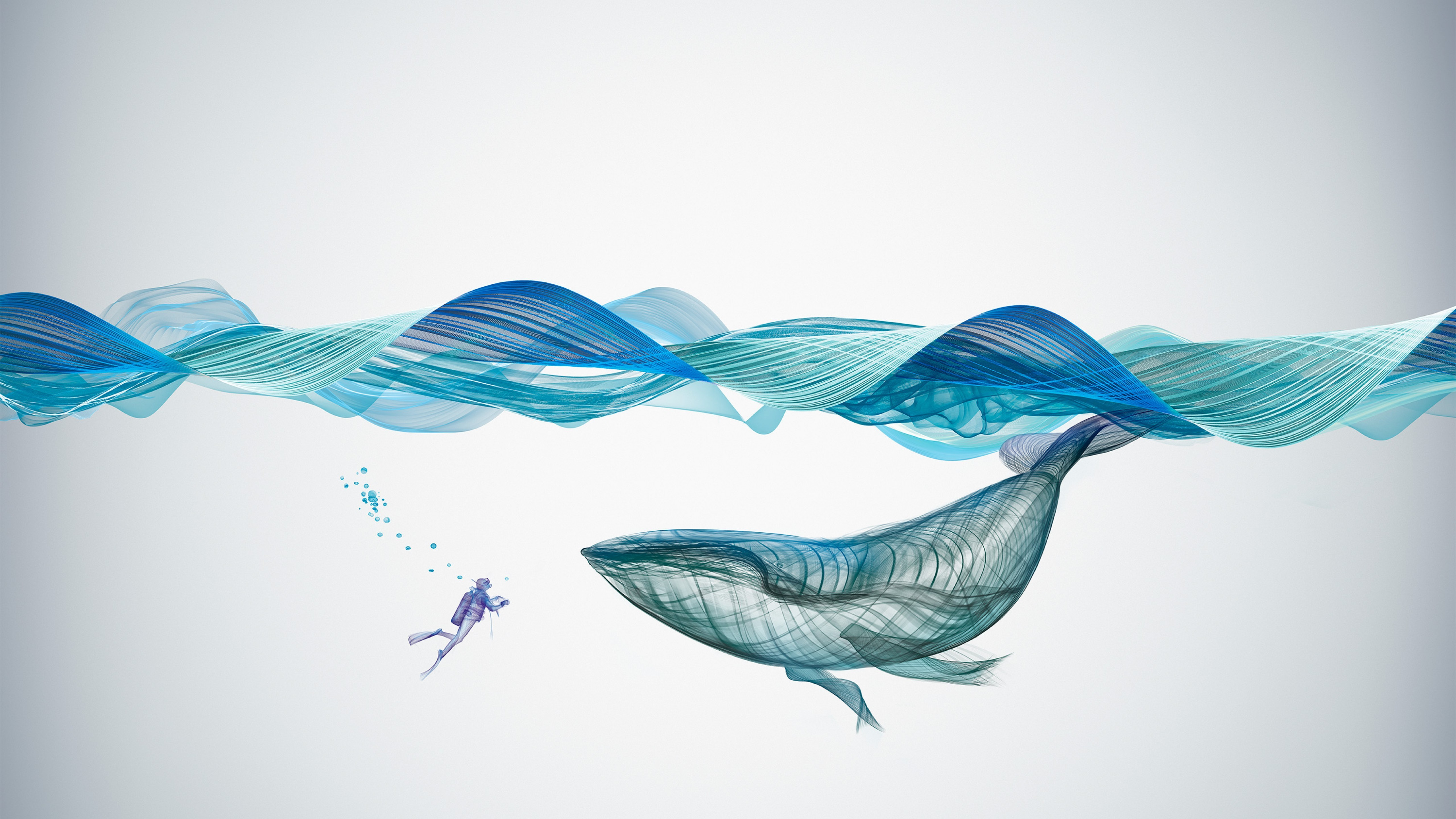 3d Graphic Wallpaper Hd Wallpaper Whale Waves Underwater Artwork 4k Abstract