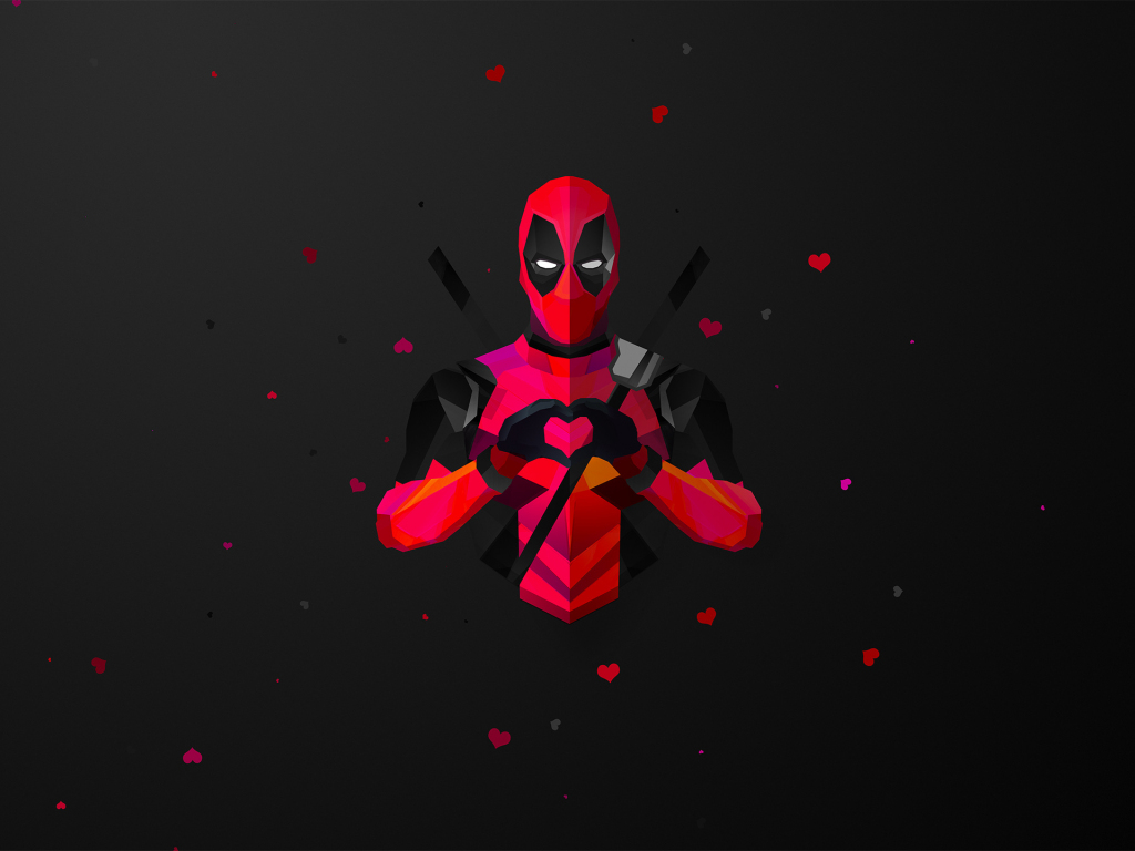 Desktop Wallpaper Low Poly Deadpool Minimal Marvel