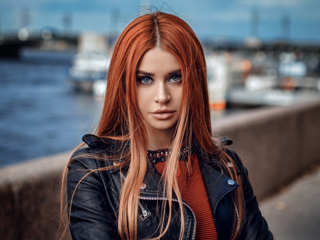 Cute Wallpapers For Samsung Galaxy S5 Desktop Wallpaper Redhead Leather Jacket Girl Model