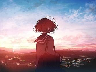 sunset outdoor anime