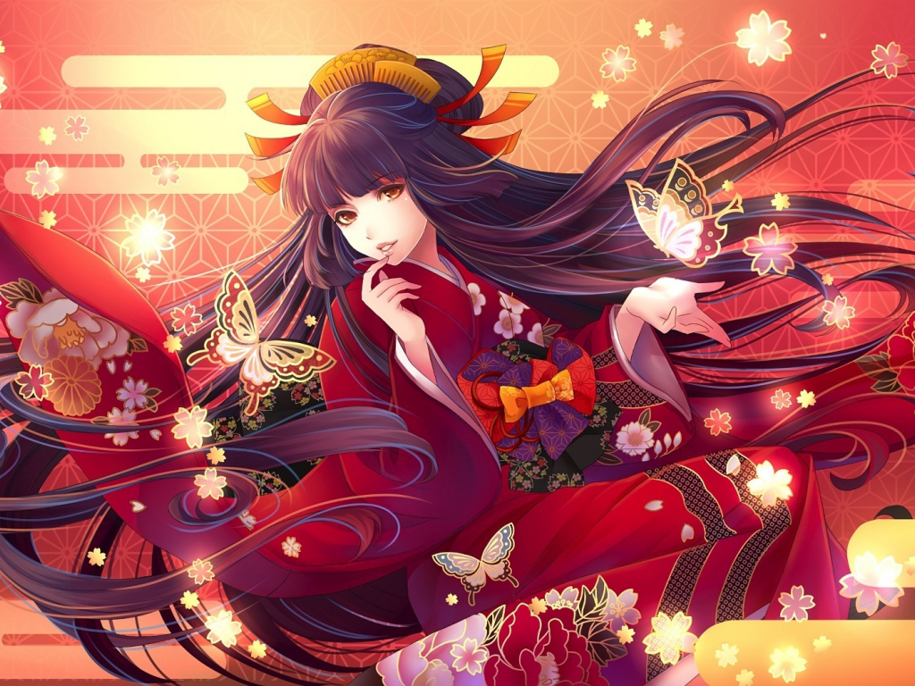 Red Dress Girl Wallpaper Desktop Wallpaper Long Hair Anime Girl Traditional Dress