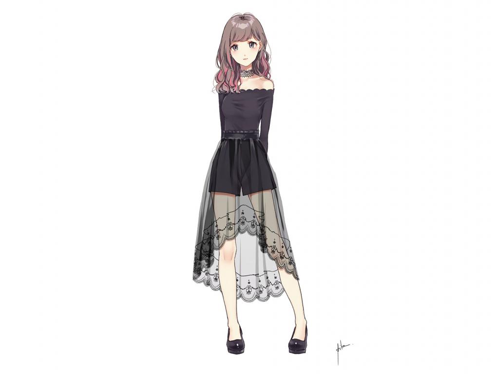 Download Cute Love Mobile Wallpapers Nokia E71 Desktop Wallpaper Cute Anime Girl Black Dress Minimal