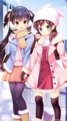 anime friends winter outdoor cute wallpapers bff manga wallpapersmug background kawaii friend bffs yuri hd bonitos drawing garotas