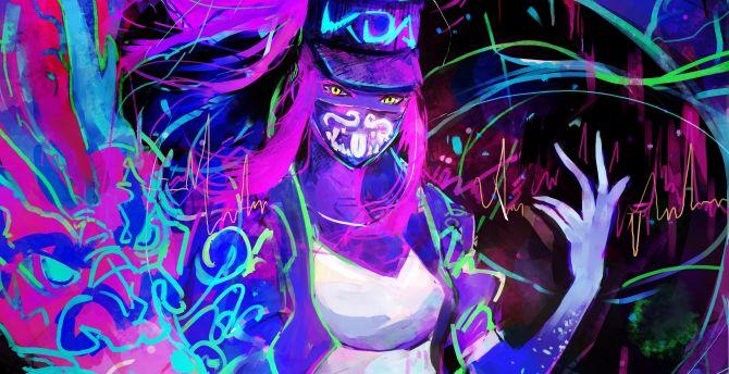 21 9 Pubg Wallpaper Desktop Wallpaper Akali League Of Legends Neon Art Hd