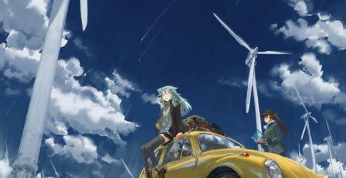 anime outdoor hatsune miku windmill clouds background