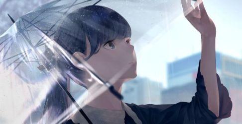 anime rain outdoor background hd 1080p desktop