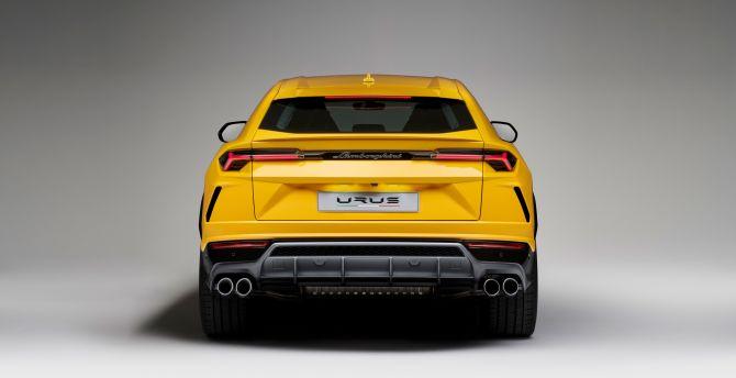 Cute Wallpaper Galaxy S4 Desktop Wallpaper Lamborghini Urus Yellow Car Rear View