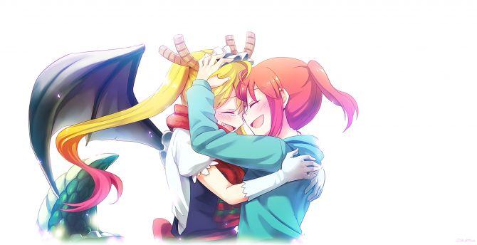 Boy And Girl Hugging Wallpaper Desktop Wallpaper Kobayashi And Tohru Anime Girls Hug