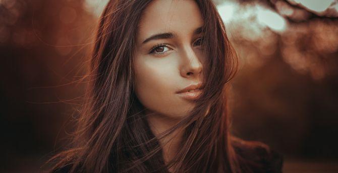 Galaxy S4 Fall Wallpaper Desktop Wallpaper Pretty Girl Hair On Face Brown Eyes