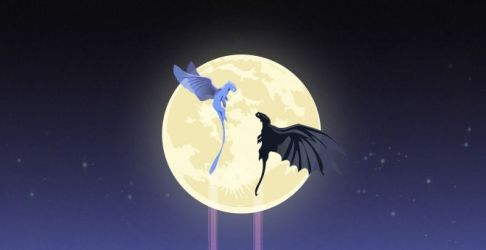 Desktop wallpaper toothless and light fury dragons moon artwork hd image picture background 8662cc