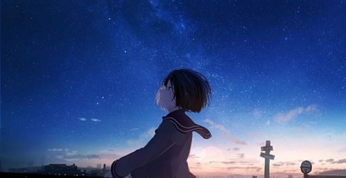 Desktop wallpaper starry night anime girl original hd image picture background a1afd9