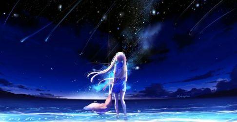 anime night outdoor starfall background hd desktop