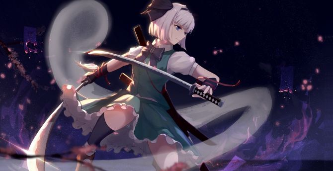 Full Hd Girl And Boy Love Wallpaper Desktop Wallpaper Youmu Konpaku Warrior With Swords
