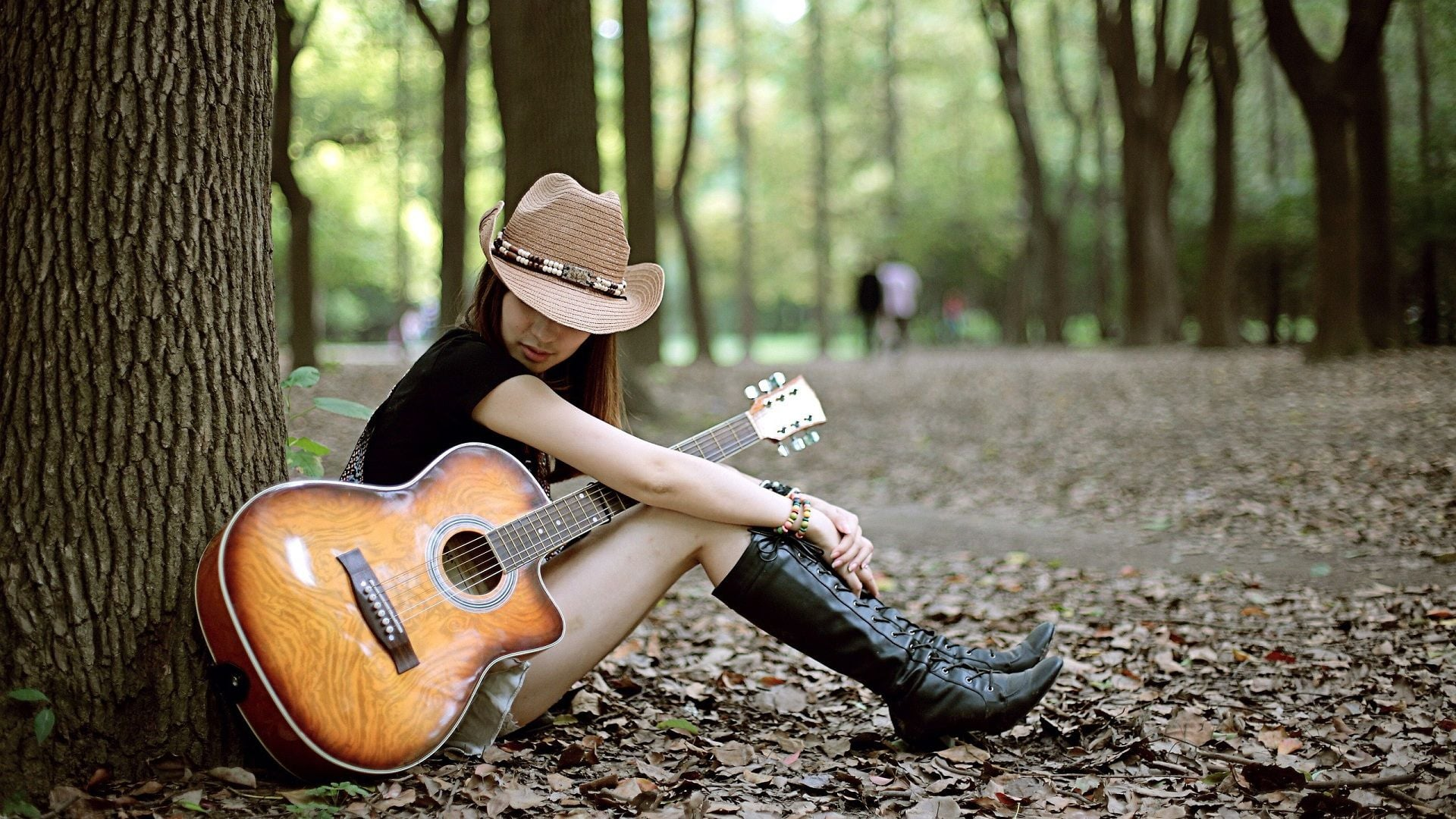 Sad Baby Girl Wallpaper With Quotes Wallpapers Girl With Guitar Hd Download
