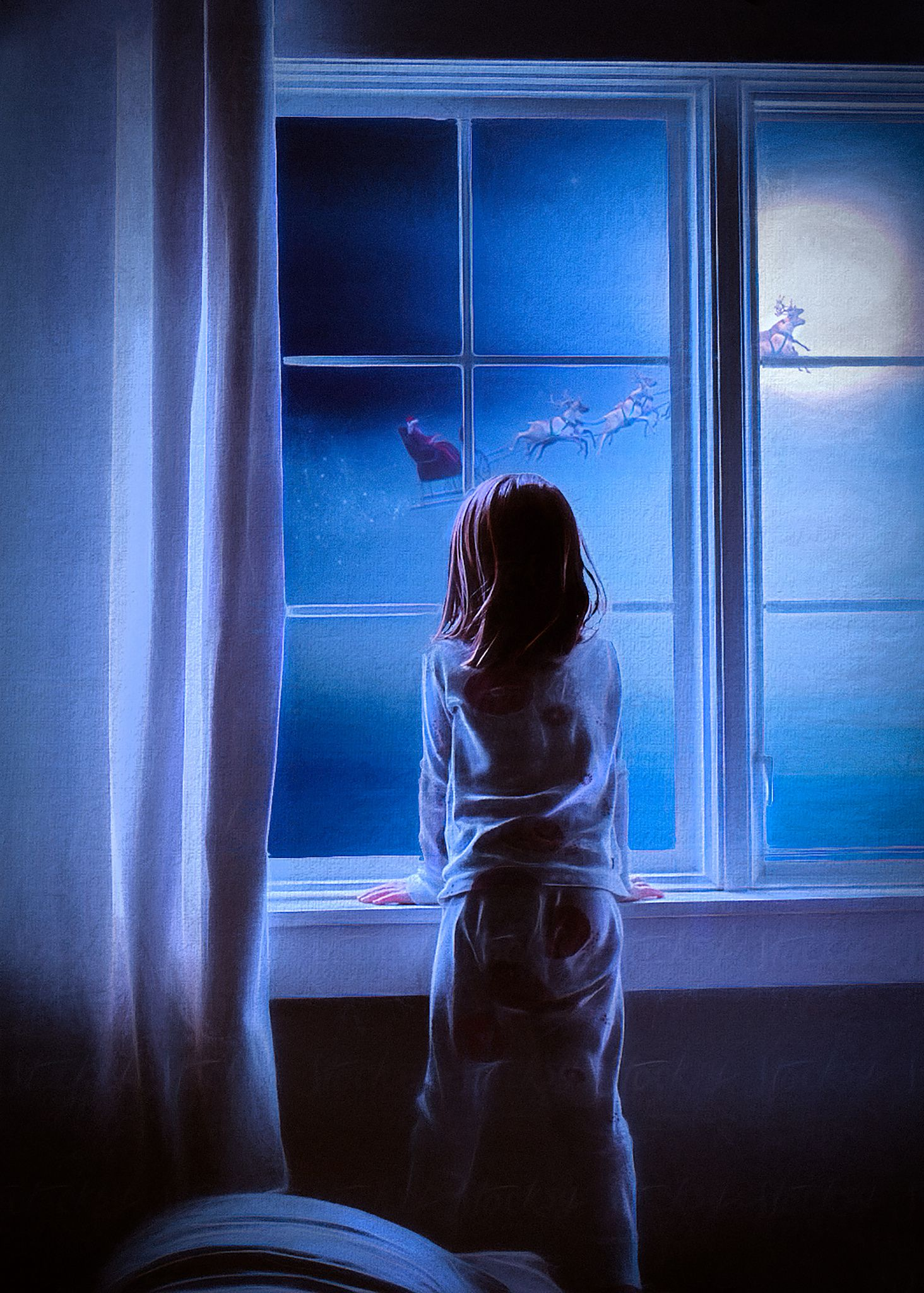 Anime Magic Wallpaper A Little Girl By The Window Santa With Deers At Night