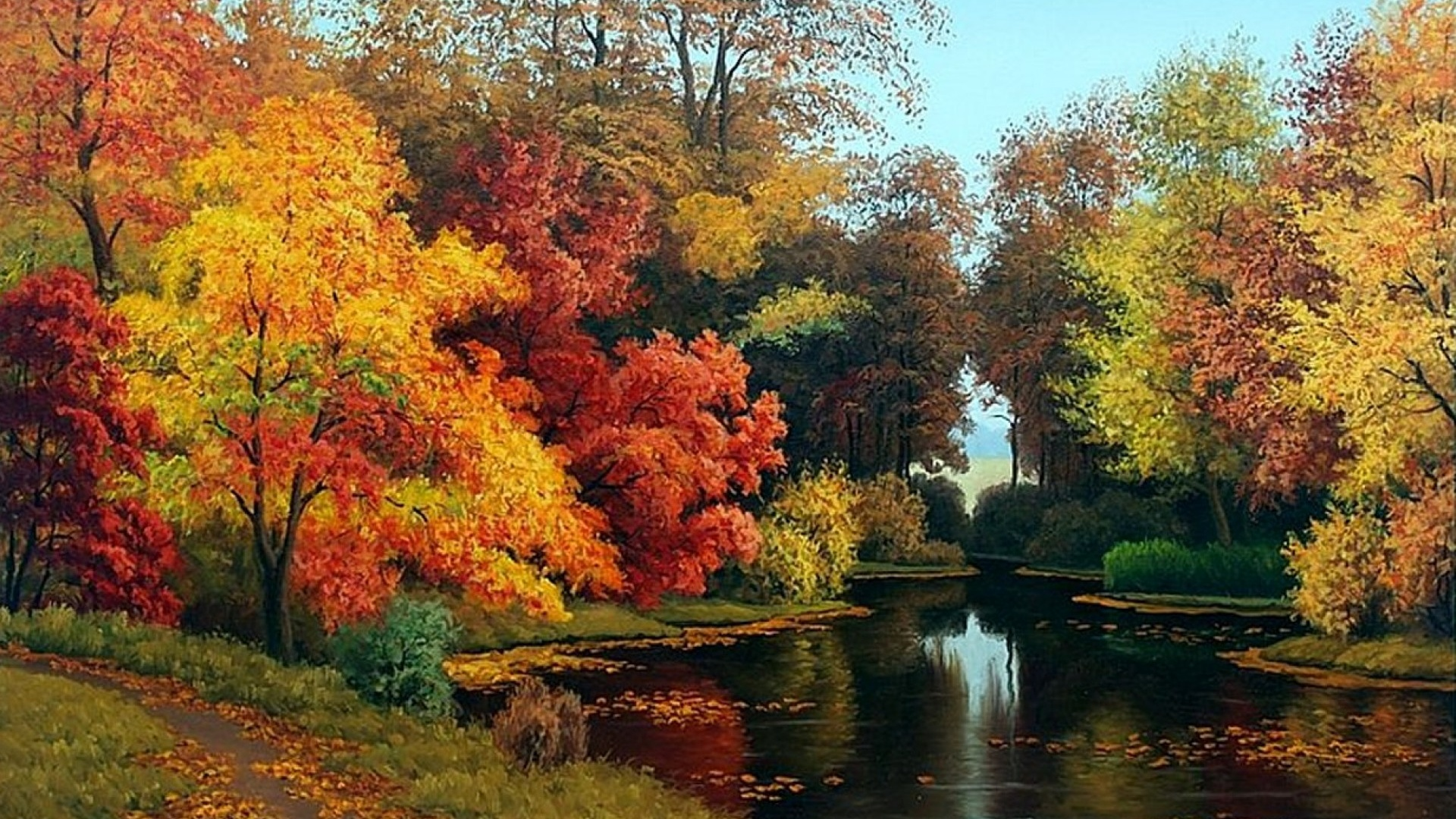 Hd Fall Wallpapers For Mac 1920x1080 Adorable Autumn Forest Amp Pond Desktop Pc And Mac