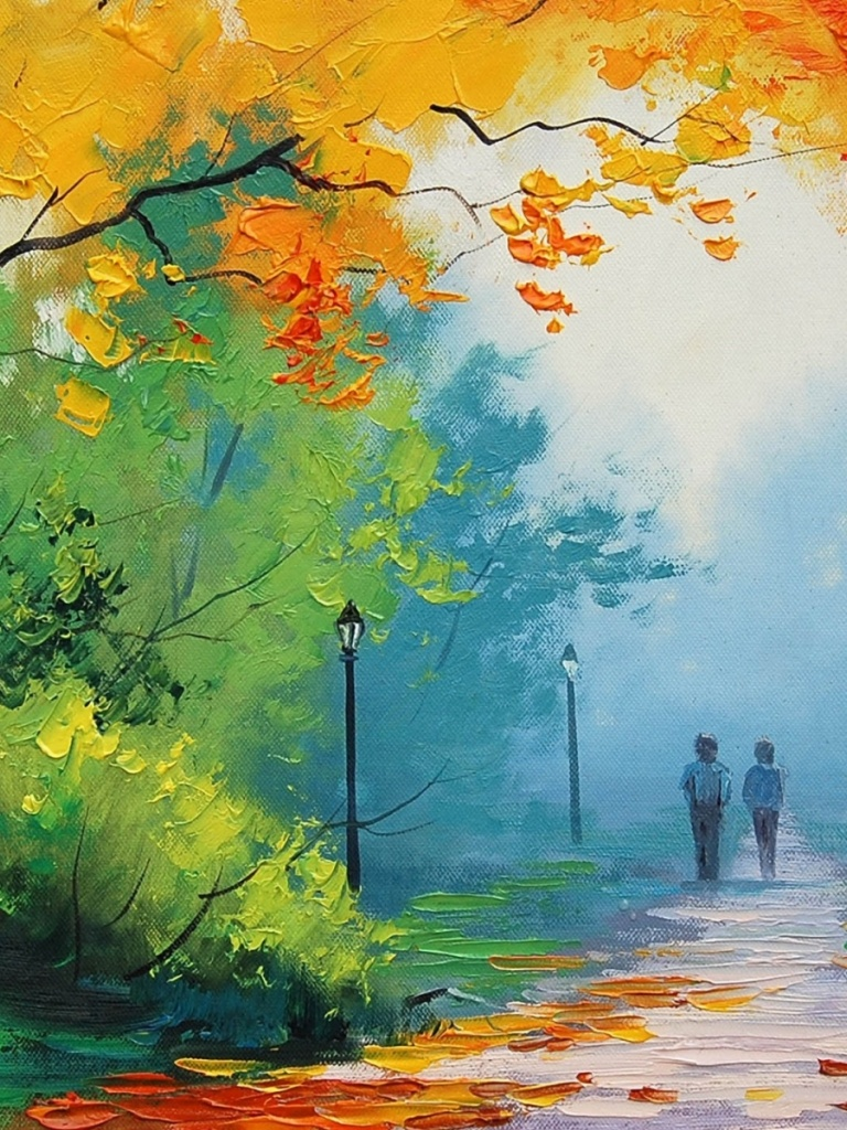 Beautiful Fall Paintings Wallpapers 768x1024 Autumn Painting Couple Ipad Mini Wallpaper