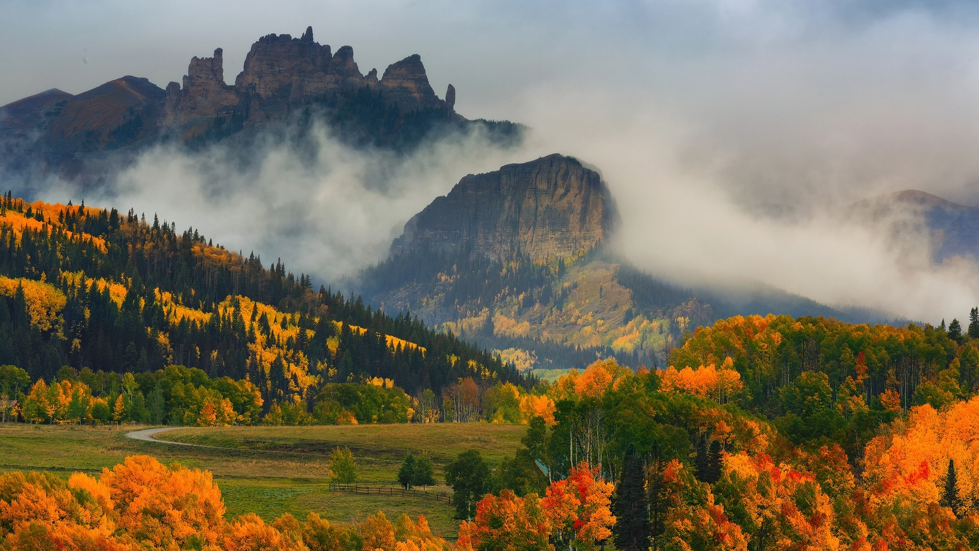 Fall Pictures For Desktop Wallpaper 1920x1080 Autumn Wood Peaks Fog Colorado Desktop Pc And