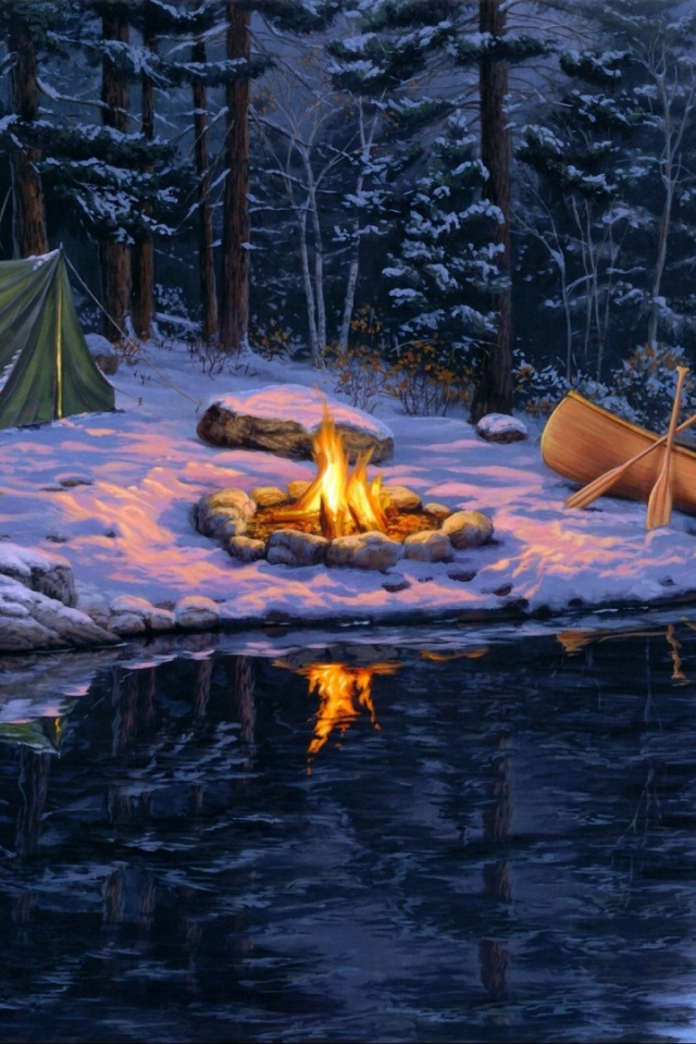 Fall Wallpapers Phone 640x960 Campfire Winter Forest Lake Iphone 4 Wallpaper