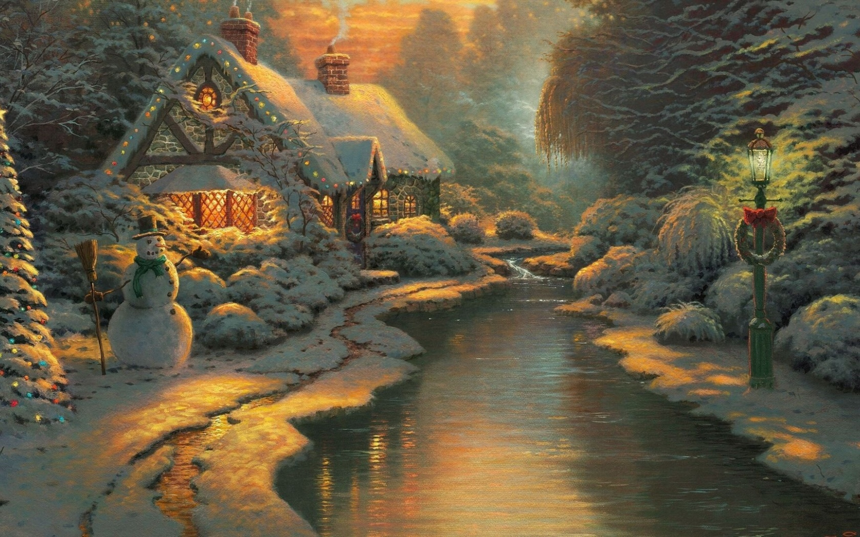 1680x1050 Christmas Cottage Desktop PC And Mac Wallpaper