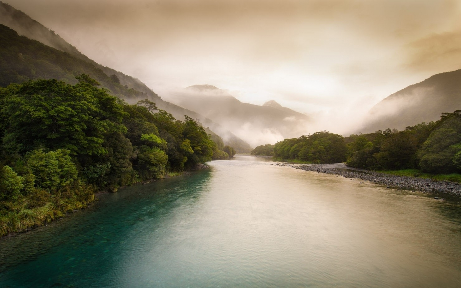 Animated Girly Wallpapers Foggy New Zea Land River Wallpapers Foggy New Zea Land