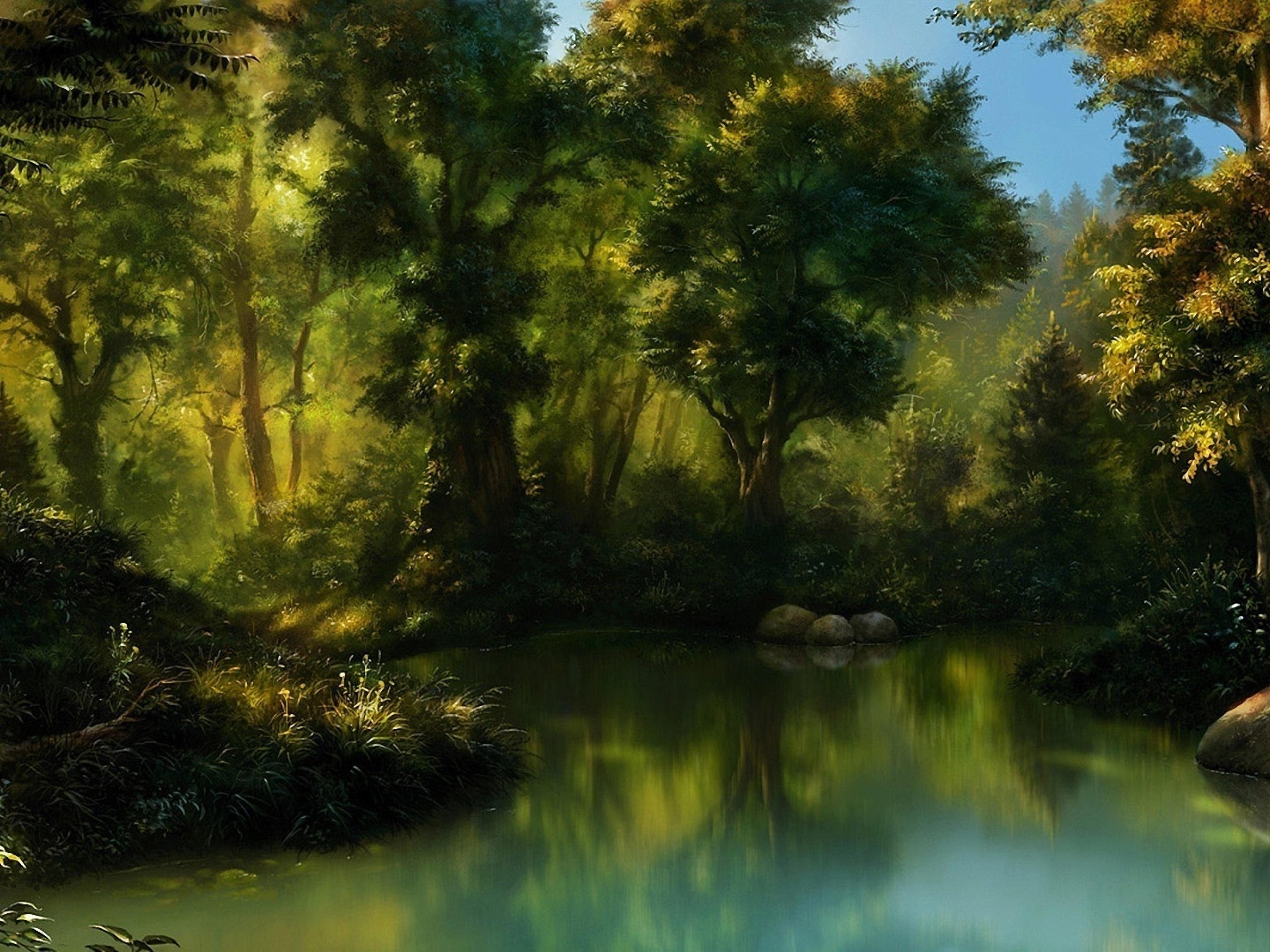 Animated Waterfall Wallpapers For Mobile Forest Amp Sea Painting Wallpapers Forest Amp Sea Painting