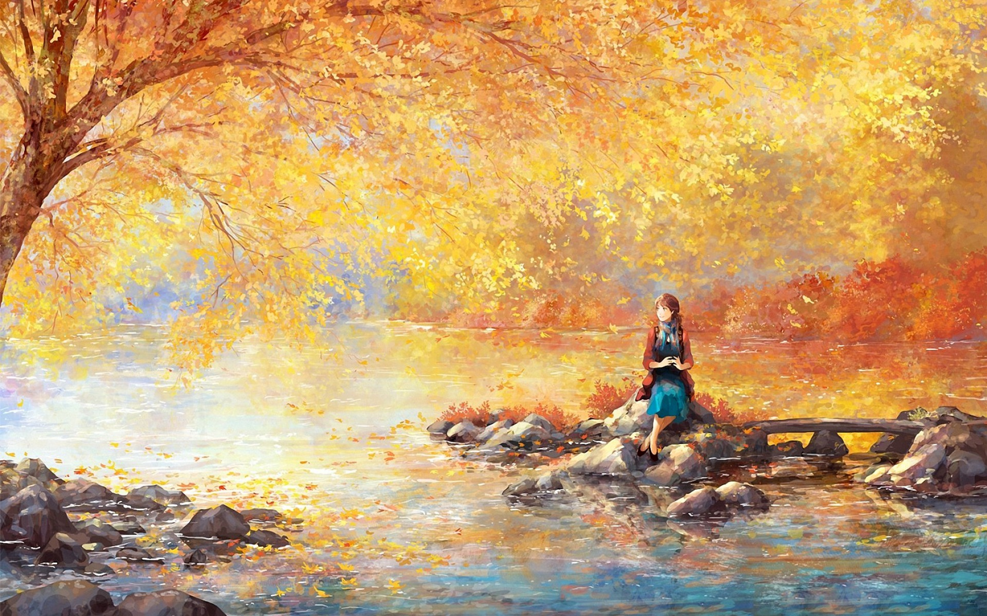 Anime Iphone X Wallpapers Deviantart Golden Tree Lake Woman Rocks Wallpapers Golden Tree Lake