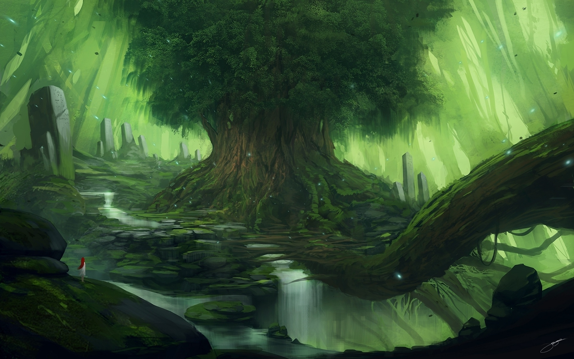 Animated Girly Wallpapers Green Fantasy Tree Girl Look Wallpapers Green Fantasy