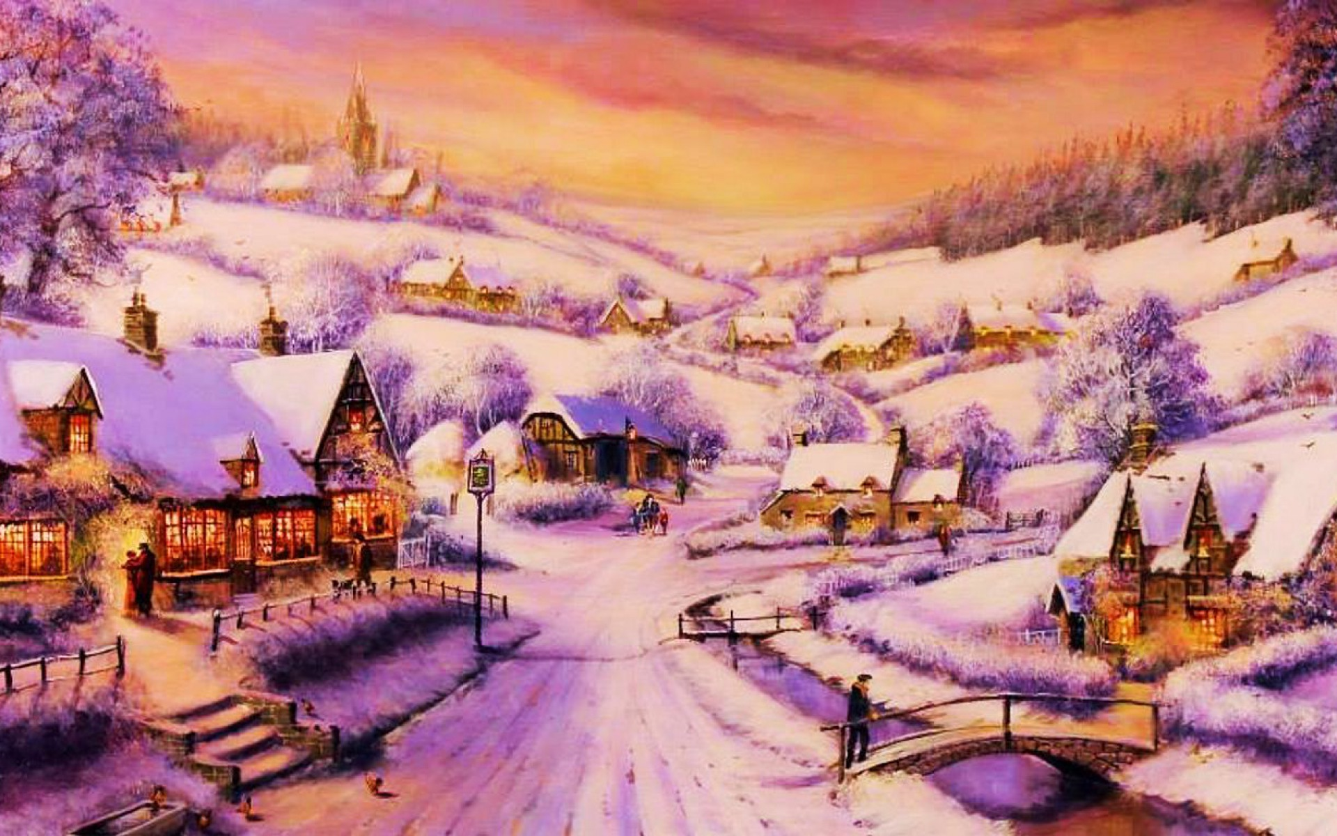 Xmas Wallpaper Iphone Houses Path Village Winter Wallpapers Houses Path