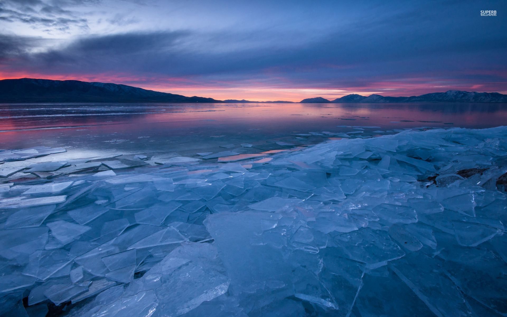 Frozen Animated Wallpaper Icy Lake Hills Pink Sunset Wallpapers Icy Lake Hills