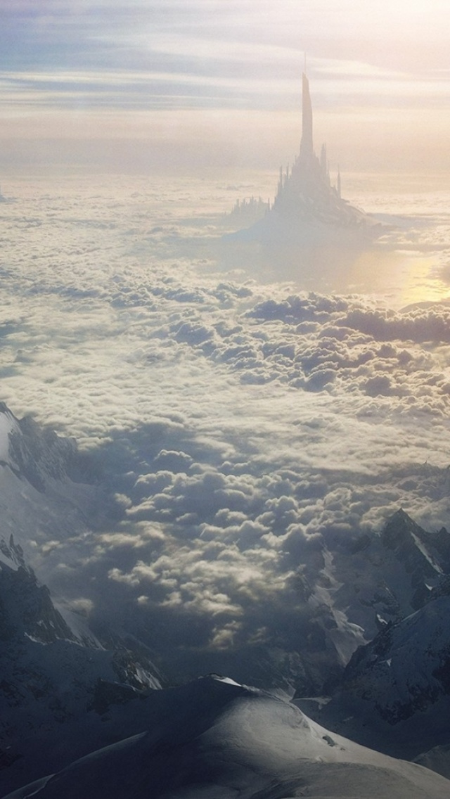 Iphone X Stock Wallpaper Download 640x1136 Mountain Clouds Castle Surreal Iphone 5 Wallpaper